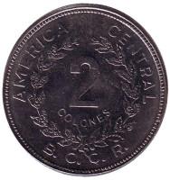 Монета 2 колона. 1983 год, Коста-Рика.