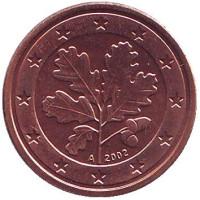 Монета 1 цент. 2002 год (A), Германия.