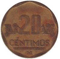 Монета 20 сентимов. 2002 год, Перу.