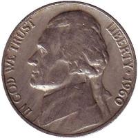Джефферсон. Монтичелло. Монета 5 центов. 1960 год, США.