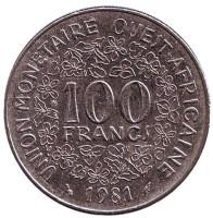 Монета 100 франков. 1981 год, Западные Африканские Штаты.
