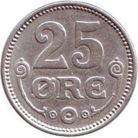 Монета 25 эре. 1919 год, Дания.