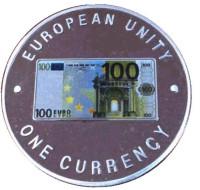 100 евро, оборотная сторона. Единая валюта Европы. Монета 1000 квач. 1999 год, Замбия.
