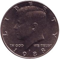 Джон Кеннеди. Монета 50 центов. 1988 год (P), США. UNC.