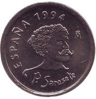 Пабло де Сарасате. Скрипка. Монета 10 песет. 1994 год, Испания. UNC.