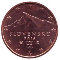 Монета 1 цент. 2016 год, Словакия.