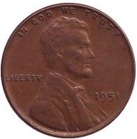Линкольн. Монета 1 цент. 1951 год (P), США.