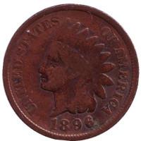 Индеец. Монета 1 цент. 1896 год, США.
