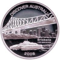 Мост Стори-Бридж. Открытие Австралии. Брисбен. Монета 1 доллар. 2008 год, Австралия.