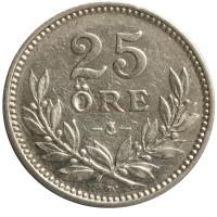 Монета 25 эре. 1918 год, Швеция. (Маленький крест)
