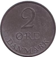 Монета 2 эре. 1956 год, Дания.