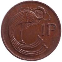 Птица. Ирландская арфа. Монета 1 пенни. 1979 год, Ирландия.