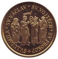 Чешские святые. Святой Вацлав, Войтех, Прокоп, Людмила. Сувенирный жетон, Чехия.