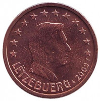 Монета 2 цента. 2009 год, Люксембург.