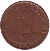 Монета 2 песо. 1978 год, Колумбия.