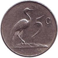Африканская красавка. Монета 5 центов. 1965 год, Южная Африка. (Suid Afrika).