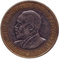 Джомо Кениата - первый президент Кении. Монета 10 шиллингов. 2010 год, Кения. (Из обращения)