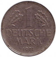 Монета 1 марка. 1971 год (G), ФРГ.