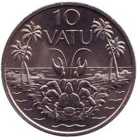 Кокосовый краб (пальмовый вор). Монета 10 вату. 1983 год, Вануату.