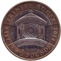 "500 лет организации ""Trinity House"". Монета 2 фунта. 2014 год, Великобритания."