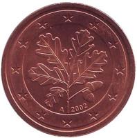 Монета 2 цента. 2002 год (A), Германия.
