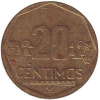 Монета 20 сентимов. 2009 год, Перу.