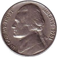 Джефферсон. Монтичелло. Монета 5 центов. 1961 год (D), США.