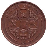 Кельтский крест. Монета 2 пенса. 1988 год, Остров Мэн. (AA)
