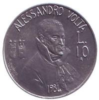 Алессандро Вольта. Монета 10 лир. 1984 год, Сан-Марино.