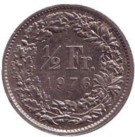 Монета 1/2 франка. 1976 год, Швейцария.