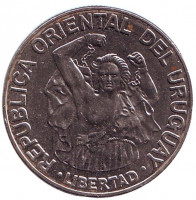 Монета 200 новых песо. 1989 год, Уругвай.