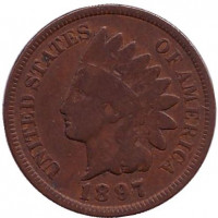 Индеец. Монета 1 цент. 1897 год, США.