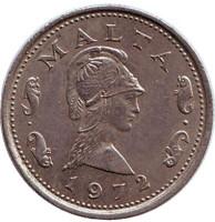 Пентесилея - королева амазонок. Монета 2 цента. 1972 год, Мальта.