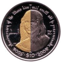 Мона Лиза (Джоконда). 500 лет картине Леонардо да Винчи. Монета 10 долларов. 2006 год, Британские Виргинские острова.