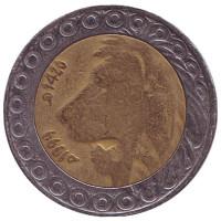 Лев. Монета 20 динаров. 1999 год, Алжир.