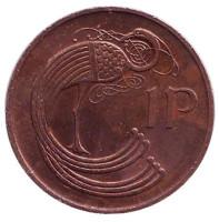 Птица. Ирландская арфа. Монета 1 пенни. 1986 год, Ирландия.
