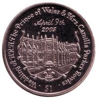 Свадьба Принца Уэльского и Камиллы Паркер-Боулз. Монета 1 доллар. 2005 год, Британские Виргинские острова.