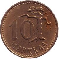"Монета 10 марок. 1958 год, Финляндия. (Тип 2. ""Большая ""1"")"