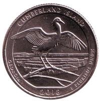 Национальное побережье острова Кумберленд. Монета 25 центов (P). 2018 год, США.