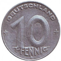 Монета 10 пфеннигов. 1950 (E) год, ГДР.