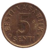 Монета 5 сентов. 1995 год, Эстония.