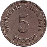 Монета 5 пфеннигов. 1912 год (A), Германская империя.