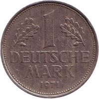 Монета 1 марка. 1971 год (J), ФРГ.