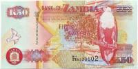 Орлан-крикун. Банкнота 50 квача. 2007 год, Замбия.