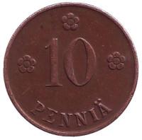 Монета 10 пенни. 1921 год, Финляндия.