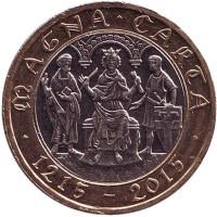 """800 лет Великой хартии вольностей. Монета 2 фунта. 2015 год, Великобритания. (Отметка """"JC"""")"""