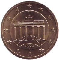 Монета 50 центов. 2002 год (A), Германия.