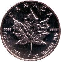 Кленовый лист. Монета 5 долларов. 2001 год, Канада.