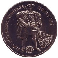 Генрих VIII. Королевское наследие. Монета 2 фунта. 1996 год, Фолклендские острова.