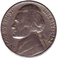 Джефферсон. Монтичелло. Монета 5 центов. 1962 год (D), США.